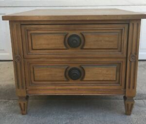 American Of Martinsville Night Stand Table Traditional Deep Drawer Wooden Vtg