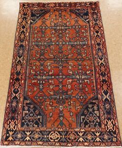 Persian Malayer Tribal Hand Knotted Wool Rust Antique Oriental Rug 4 1 X 6 8