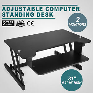 31 Inch Adjustable Height Stand Up Desk Computer Workstation Lift Rising Laptop
