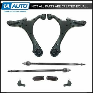 10 Piece Steering Suspension Kit Control Arms Tie Rods Boots Bellows New