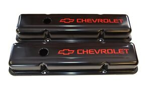Chevrolet Sbc Black Steel Stock Valve Covers W Red Chevrolet Logo 58 86 New