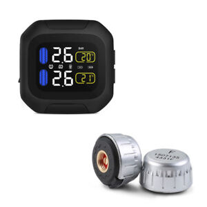 Tpms Motorcycle Tire Pressure Monitor System Waterproof With 2 External Sensors