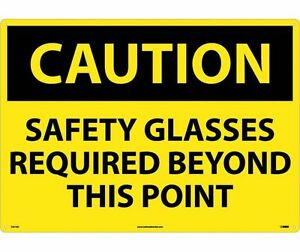 National Marker C351ad Large Format Caution Safety Glasses Required Sign