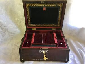 Superb Sarcophagus Rosewood Georgian Sewing Jewellery Box With Tray And Key