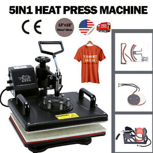 5 In 1 Heat Press Machine Transfer Sublimation T shirt Mug Cup Plate Cap Hat New