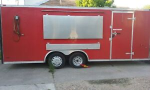 Food Concession Stand Trailer Red Opens On Both Sides Traila