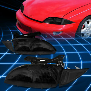 For 95 99 Chevy Cavalier Smoked Housing Headlights clear Turning Signal Lamps
