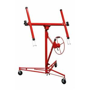 Drywall Panel Hoist Lifter Tool Metal Telescoping Arms Rolling Caster Horizontal