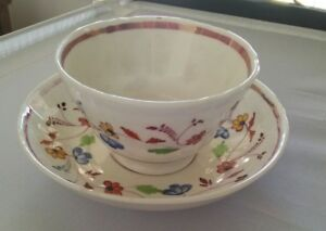 Early 1800 S Handleless Cup Saucer Floral And Pink Lustre Hand Painted Exc