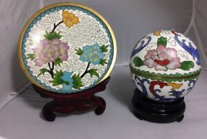 Rare Antique Chinese Cloisonne Lidded Round Jar And Plate Beautiful Painting