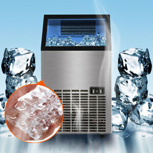 80kg 176lbs Commercial Ice Cube Maker Machines Stainless Steel Bar Restaurant