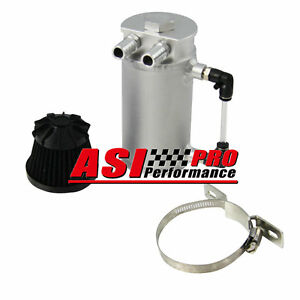 Aluminum Oil Reservoir Catch Can Tank With Breather Filter Baffled Silver Pro