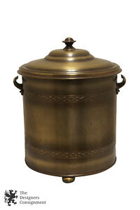 Brass Wf Brand Lidded Coal Scuttle Ash Can Hearthware Fireplace Made In England