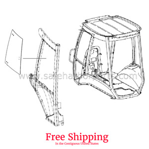 Case 580m Backhoe Left Hand Door Upper Glass Free Shipping