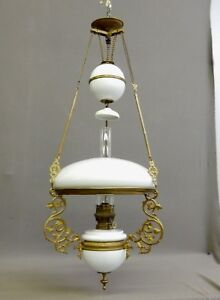 Antique S J Adjustable Hanging Oil Chandelier W Matching Milk Glass Shades