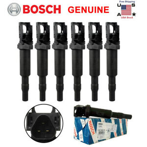 For Bmw Ignition Coil 6 Pack Updated W Connector Boot Genuine Bosch 0221504470