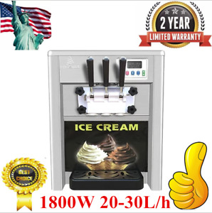 Commercial 1800w 20 30l h 3flavor Soft Ice Cream Maker Frozen Ice Making Machine