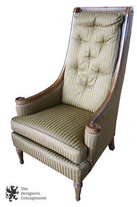 Drexel Heritage Hollywood Regency High Back Tufted Arm Chair Striped Green 47