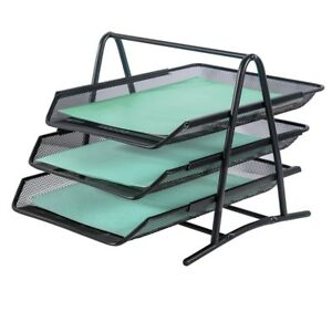 Designa Letter Tray 3 Tier Office Desk Organize Desktop Document Paper File Bl