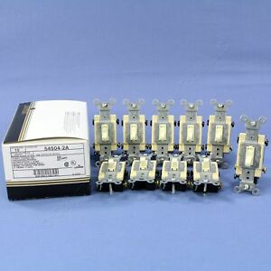 10 Leviton Almond 4 way Commercial Grade Toggle Wall Light Switches 15a 54504 2a