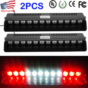 2x Red White Red 12 Led Warning Strobe Visor Light Bar Dash Flash Emergency Lamp