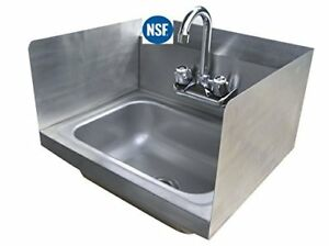 Stainless Steel Hand Sink With Side Splash Nsf Commercial Equipment 16 X Sinks