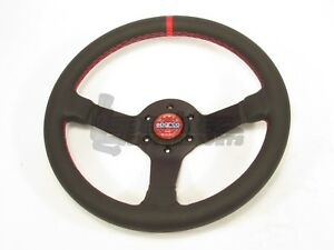 Sparco Champion Steering Wheel 330mm Black Leather Round Red Stitching