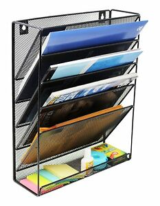 Mesh Wall Mounted Hanging Document File Organizer 5 Compartment Vertical