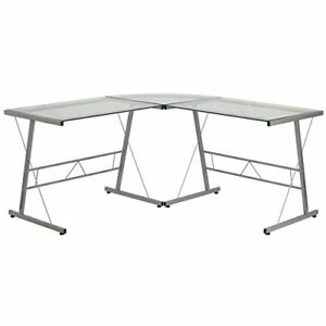 Flash Furniture Glass L shape Computer Desk With Silver Frame Finish Office