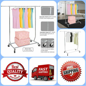 Portable Clothing Garment Rack Adjustable Height And Length Rolling Collapsible