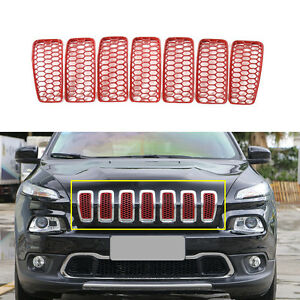 Fit 2014 2018 Jeep Cherokee Front Grille Inserts Mesh Grill Accessories red 7pcs