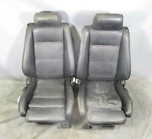 Bmw E30 3 Series Convertible Factory Front Sports Seats Pair Black Leather Used