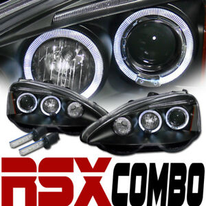 10000k Hid Xenon W blk Halo Drl Led Projector Head Lights Signal 02 04 Acura Rsx