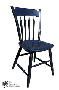 Vintage Ethan Allen Thumb Back Maple Painted Dining Side Chair Black Stenciled