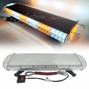 30 Incn Emergency Beacon Tow plow Truck Warning Amber White Led Strobe Lightbar