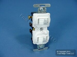 10 New Cooper White Double Wall Duplex Toggle Light Switches 15a 120 277v 275w