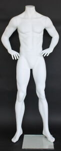 5 Ft 6 In Tall Small Size Male Headless Mannequin Matte White Finish stm010 new