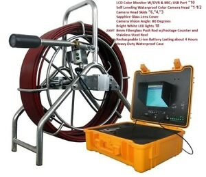 Sewer Drain Pipe 10 Lcd 1 1 2 Self Leveling Camera 200ft Cable Usb Ft Counter