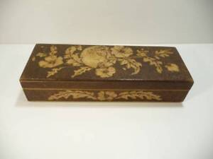 Antique 1890 S Pyrography Wood Box For Gloves Combs Documents Art Nouveau Maiden