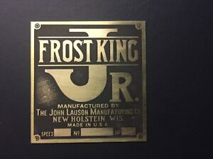 New Associated John Lauson Frost King Jr Brass Tag Antique Gas Engine Hit Miss