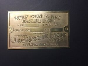 New Olds Brass Data Tag Antique Gas Engine Hit Miss