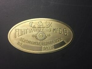New Flint And Walling Brass Tag Antique Gas Engine Hit Miss