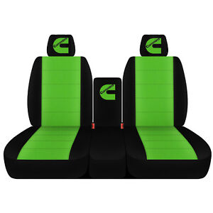 Fits 1995 Dodge Ram Black And Lime Green 40 20 40 Seat Covers