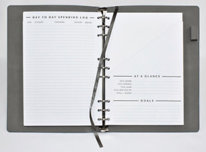 Clutterout Refillable Soft Cover Undated Monthly Finance Planner With Pockets