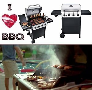 Gas Grill Bbq 4 Burner Cart Propane Restaurant Professional Commercial Cooker