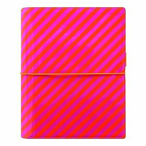 Filofax 2018 Domino Organizer A5 8 25 X 5 75 Patent Orange pink Stripes With