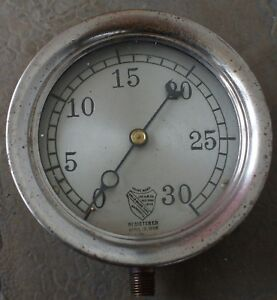 1898 Ashcroft Gauge A m Co New York Antique Steampunk Nickel Plated Brass 5 1 4