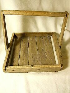 Antique Wood Berry Fruit Basket Carrier With 4 Old Wood Berry Boxes