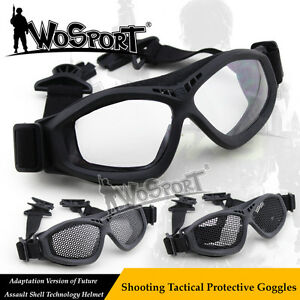 Tactical Airsoft Paintball CS Goggles Glasses with Swivel Clips for Fast Helmet