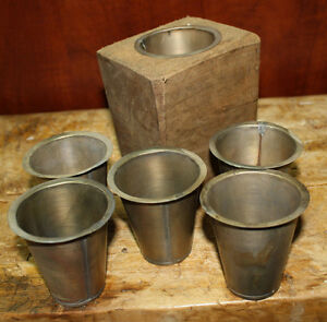4 Replacement Sugar Mold Candle Holder Primitive Tin Cup Votive Candles